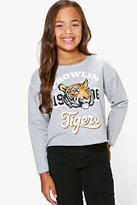 Boohoo Girls Brown Tigers Sweat Top grey