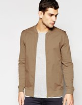 Asos Jersey Bomber Jacket With Woven Front In Camel