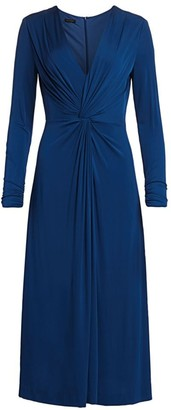 Escada Dahlias Twist-Front Jersey Midi Dress