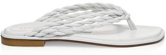 Stuart Weitzman Calypso Leather Flat Thong Sandals
