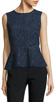 Kasper Suits Sleeveless Jacquard Peplum Top