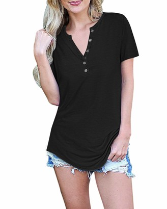 AUSELILY Women's Short Sleeve V-Neck Button Loose Casual Tunic Tops Blouse Henley T Shirts(Black Medium)
