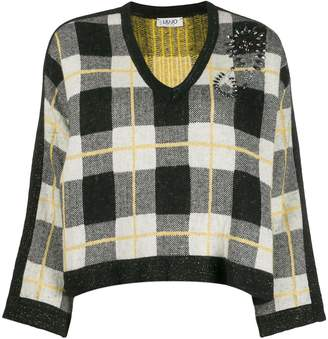 Liu Jo embellished plaid jumper
