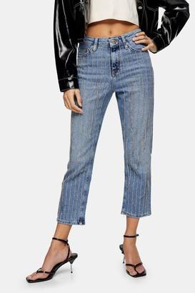 Topshop Womens Petite Star Print Denim Jeans - Mid Stone
