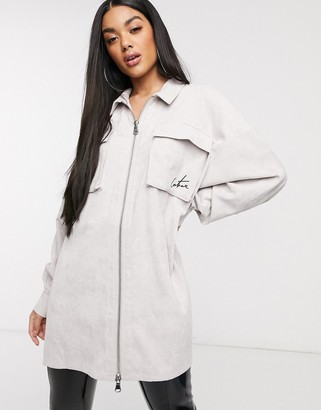 Couture The Club oversized motif shirt dress in grey