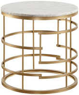 Jaxton Round End Table With Faux Marble Top, Gold