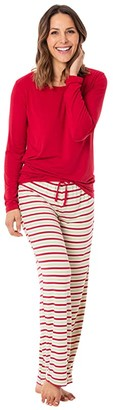 Kickee Pants Plus Size Long Sleeve Loosey Goosey Tee Pants PJ Set (2020 Candy Cane Stripe) Women's Pajama Sets