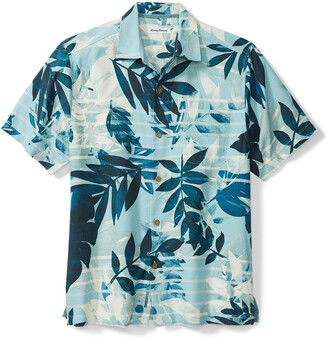 Tommy Bahama Allegro Fronds Tropical Short Sleeve Silk Blend Button-Up Shirt