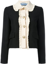 Gucci ruffle trim cropped jacket - women - Silk/Acetate/Wool - 44