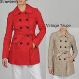 Esprit Women's Double Breasted Belted Trench w/Quilt Detail