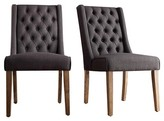 Inspire Q Old Town Wingback Button Tufted Hostess Chair Wood/Charcoal (Set of 2)