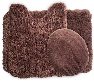 Lavish Home 3 Piece Super Plush Non-Slip Bath Mat Rug Set, Chocolate