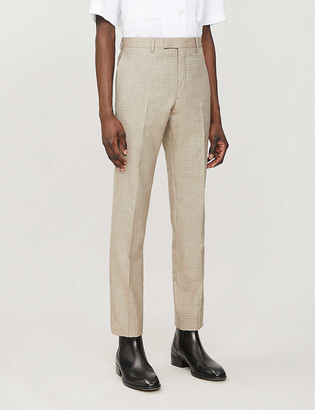 Sandro Havana plaid slim-fit tapered wool trousers