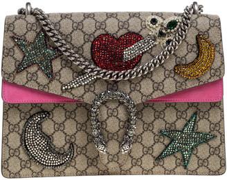 Gucci Pink/Beige GG Supreme Canvas and Suede Medium Crsytal Embellished Dionysus Shoulder Bag