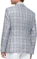 HUGO BOSS Exploded-Plaid Woven Two-Button Blazer