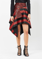 Proenza Schouler black / red stripe asymmetrical wrap skirt