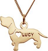 JCPenney FINE JEWELRY Dachshund 14K Yellow Gold Over Sterling Silver Personalized Pendant Necklace