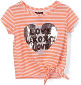 XOXO Fresh Melon Sequin 'Love XoXo' Side-Tie Tee - Toddler & Girls