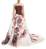 Monique Lhuillier Embellished Rose-Print Strapless Gown, Burgundy
