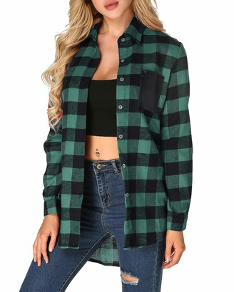 ZANZEA Womens Tops Casual Blouse Buffalo Plaid Shirt Long Sleeve Tops Flannel Shirt Dress Button Down Long Sleeve Tops Outerwear Collar with Pocket Tnuic Tops Red 12