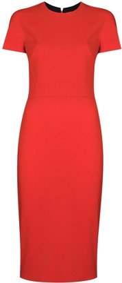Victoria Beckham Short Sleeve Fitted Midi Dress