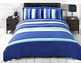 Signature Striped Adults Teenagers Quilt Duvet Cover and 2 Pillowcase Bedding Bed Set, Blue, King Size