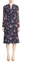 Nordstrom Women's Pintuck Floral Print Stretch Silk Dress