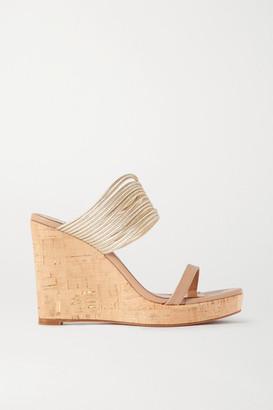 Aquazzura Rendez Vous 105 Metallic Leather Wedge Sandals - Neutral