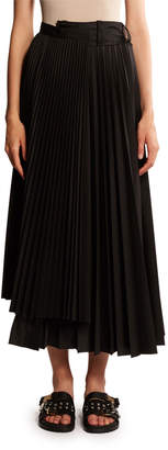 Sacai Asymmetric Pleated Poplin Maxi Skirt