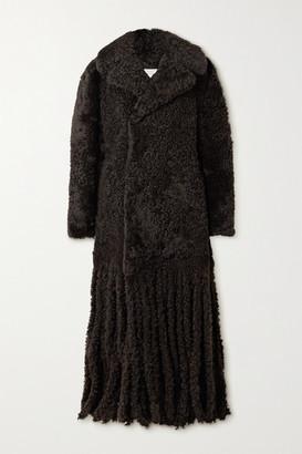 Bottega Veneta Fringed Shearling Coat - Dark brown