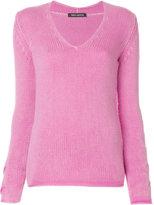 Iris von Arnim twist knit V-neck sweater