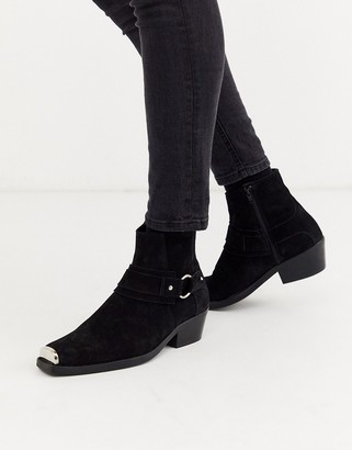 Asos DESIGN stacked heel western chelsea boots in black suede with square toe and hardware detail