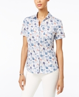Karen Scott Petite Cotton Flip-Flop-Print Shirt, Created for Macy's