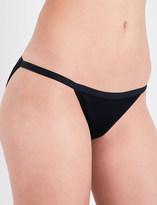 Three Graces London Ladies Black Ribbed Retro Asterea Tanga Bikini Bottoms