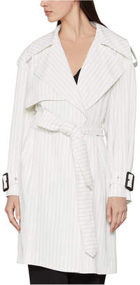 BCBGMAXAZRIA Pinstriped Belted Trench Coat
