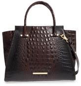 Brahmin 'Priscilla' Croc Embossed Leather Satchel - Black