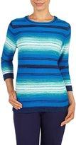 Nygard Women's Petite Alia Crew Neck Ombre Stripe Pullover