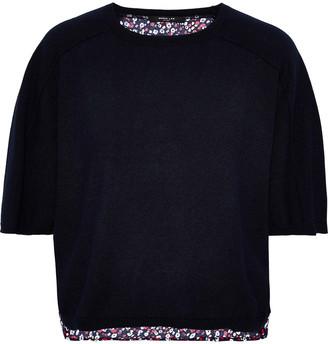 Derek Lam Floral-print Crepe-paneled Cashmere And Silk-blend Sweater