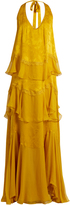 Roberto Cavalli Ruffled silk-chiffon gown