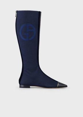 Giorgio Armani Boots In Textured Fabric With Leather And Velvet Details