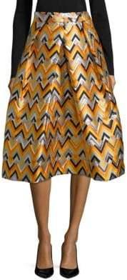 Milly Geometric Pleated Midi Skirt