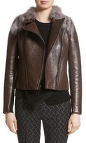 Yigal Azrouel Women's Bonded Moto Leather Jacket With Removable Genuine Fox Fur Collar
