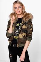 Boohoo Erin Camo Bomber Faux Fur Hood
