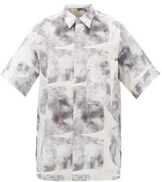 Studio Nicholson Printed Cotton-twill Shirt - Mens - Grey White