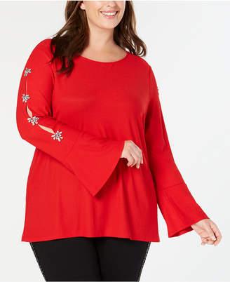 INC International Concepts Inc Plus Size Embellished Sleeve Top