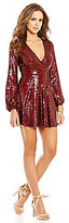 Gianni Bini Social V-Neck Long Sleeve Sequin Dress
