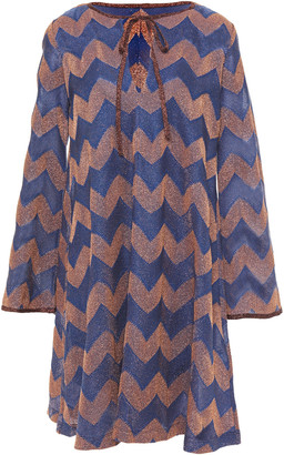 M Missoni Striped Metallic Crochet-knit Mini Dress