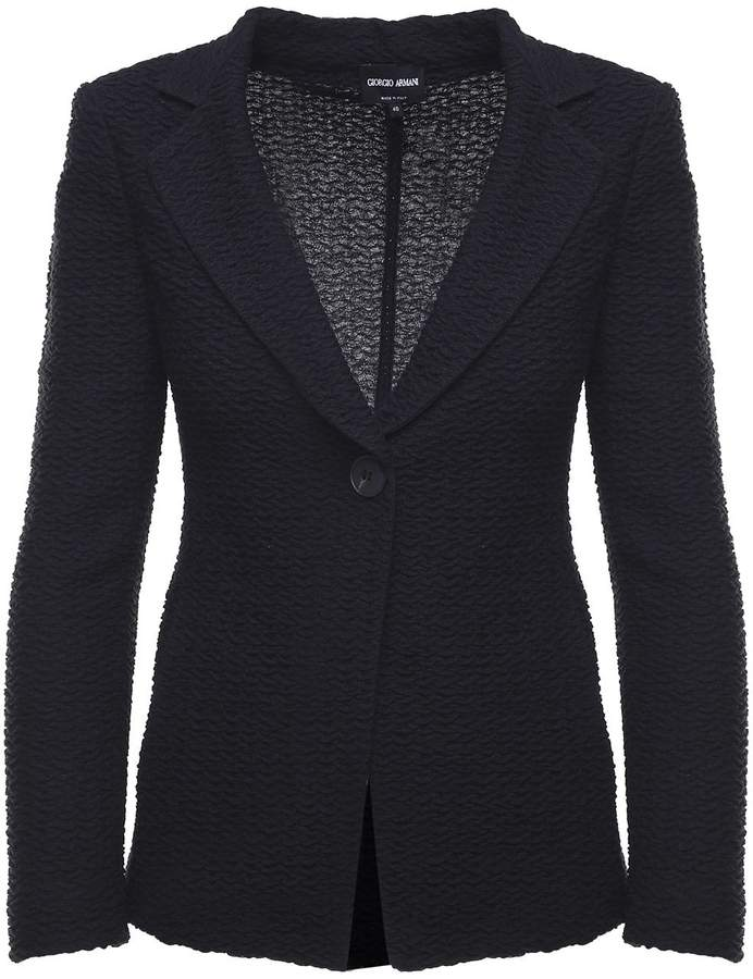 Giorgio Armani Single-breasted Embossed Wool-blend Blazer