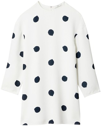 Tibi Polka Dot Sculpted Shift Dress in White/Black Multi