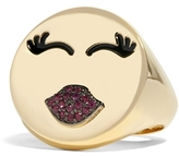Alison Lou 14K MWA Signet Ring With Rubies